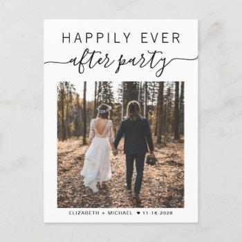 happily ever after party photo wedding announcement postcard