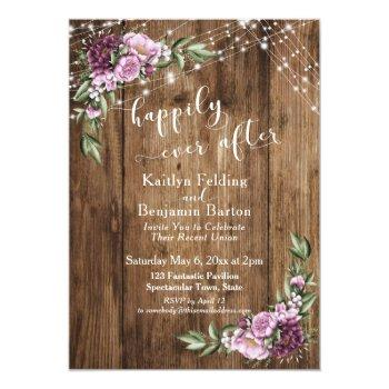 happily ever after rustic floral lights reception invitation