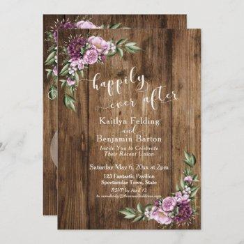 happily ever after rustic floral reception only invitation