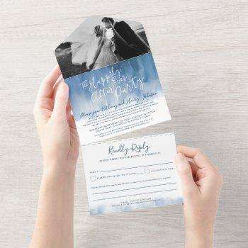 happily ever after wedding party photo blue gray all in one invitation