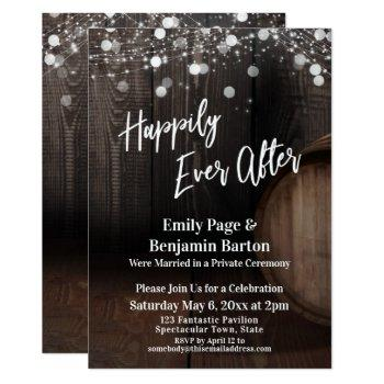 happily ever after wood wine barrel and lights invitation