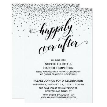 happily ever ever hearts script silver confetti invitation