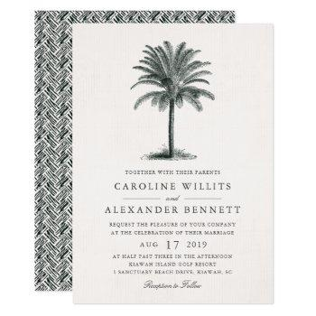 havana palm wedding invitation