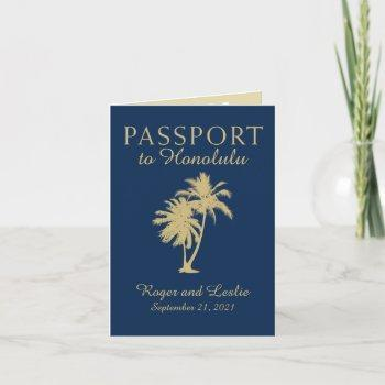 hawaii navy blue and gold wedding passport invitation