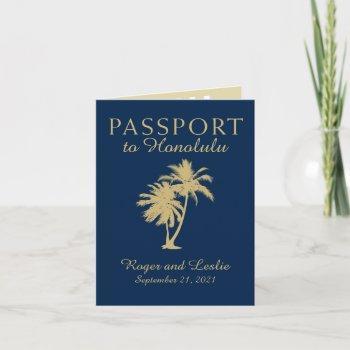 hawaii navy blue and gold wedding passport invitation