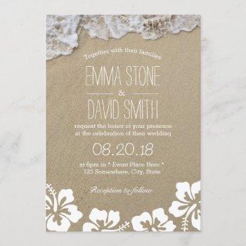 hawaiian hibiscus summer beach destination wedding invitation