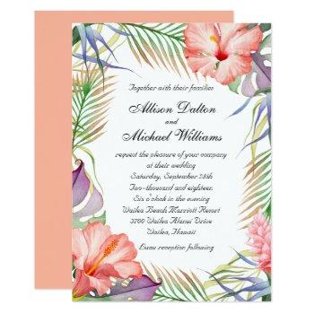 hawaiian luau tropical floral wedding invitation