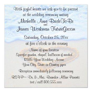 heart in sand beach wedding with rsvp invitation