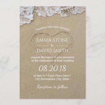 heart in the sand summer beach wedding invitation