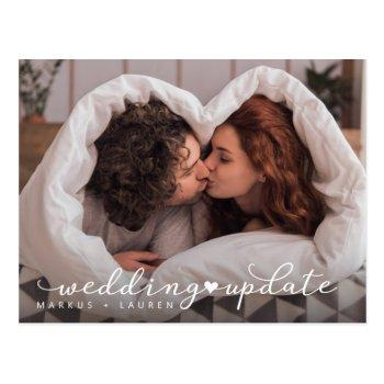 hearted wedding update postcard