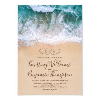 hearts in shore beach wedding invitation