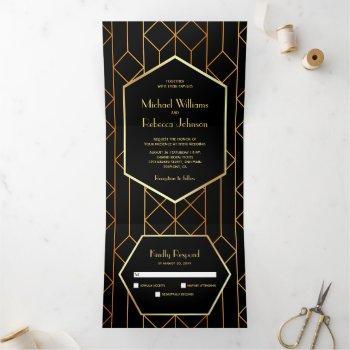 hexagon retro art deco black gold 3 in 1 wedding tri-fold invitation