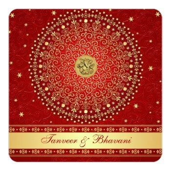hindu ganesh red, gold scrolls engagement invite