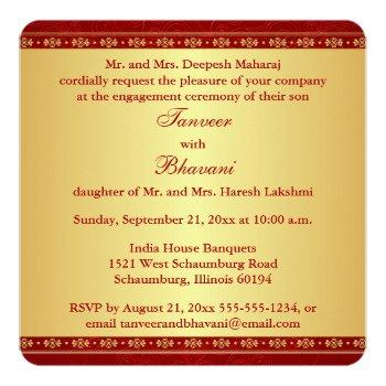 Small Hindu Ganesh Red, Gold Scrolls Engagement Invite Back View