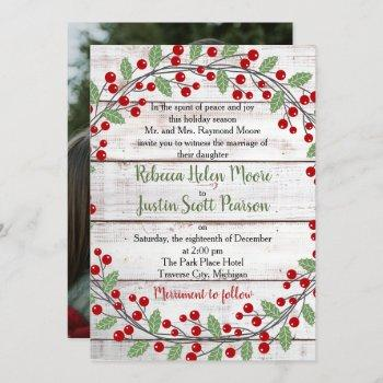 holiday charm ii winter/christmas photo wedding invitation