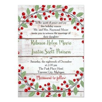 Small Holiday Charm Ii Winter/christmas Wedding Invitation Front View