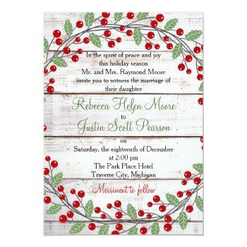 Small Holiday Charm Winter/christmas Wedding Invitation Front View