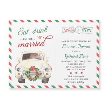 holiday christmas red green wedding invitation