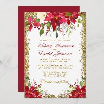 holiday wedding floral red poinsettia gold glitter invitation