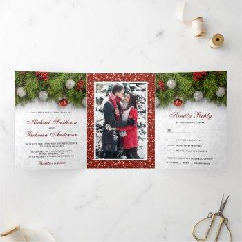 holly berry and pine leaves christmas wedding tri-fold invitation
