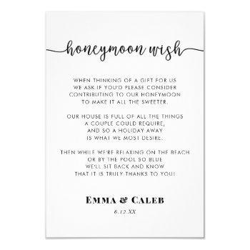 honeymoon wish enclosure card