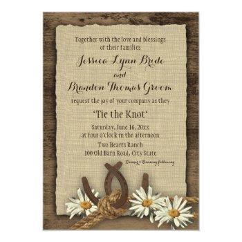 horseshoes and daisies rustic burlap invitation
