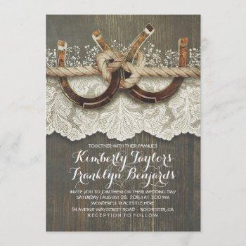 horseshoes lace wood baby's breath rustic wedding invitation