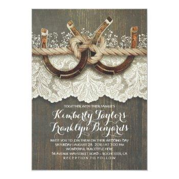 horseshoes lace wood baby's breath rustic wedding invitation