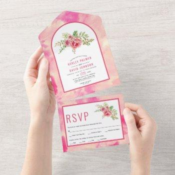 hot pink cactus flowers, leaves floral wedding all all in one invitation