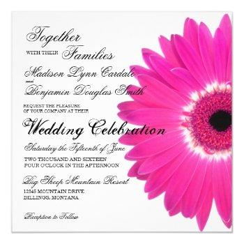 hot pink gerber daisy flower wedding invitations