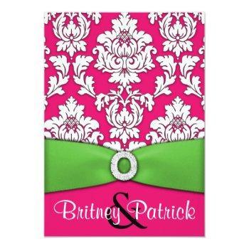 hot pink & lime green damask wedding invitations