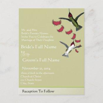 humming birds grunge hearts with wings invitation postcard