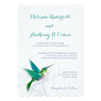 hummingbird swirl 5x7 wedding invitation