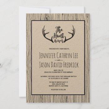 """hunt is over"" rustic wood antler wedding invitation"