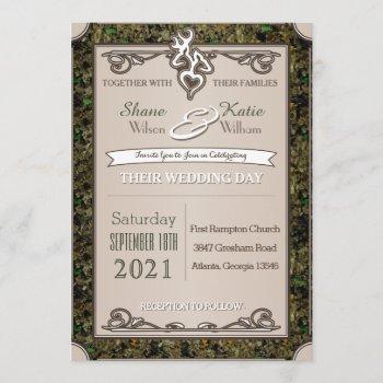 hunting buck and doe camouflage wedding invitation