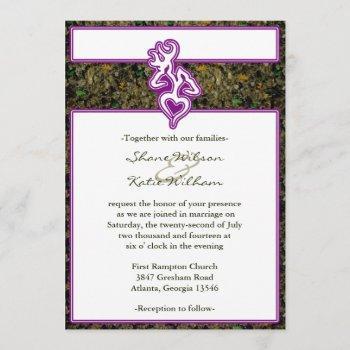 hunting camo purple custom outline color invite