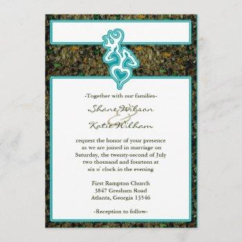 hunting camo turquoise custom outline color invite