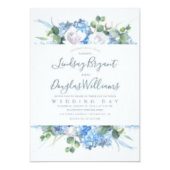 Small Hydrangea And Greenery Dusty Blue Floral Wedding Invitation Front View
