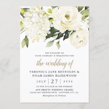 hydrangea elegant white gold rose floral wedding invitation