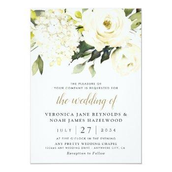 Small Hydrangea Elegant White Gold Rose Floral Wedding Invitation Front View