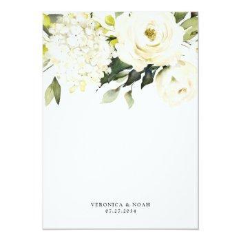 Small Hydrangea Elegant White Gold Rose Floral Wedding Invitation Back View