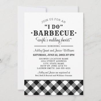 i do bbq black gingham couple's wedding shower invitation