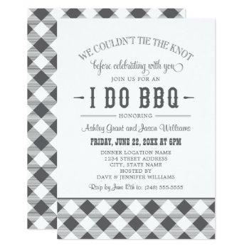 i do bbq charcoal gray gingham wedding celebration invitation