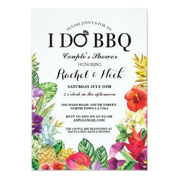 i do bbq couples shower pretty aloha floral invite