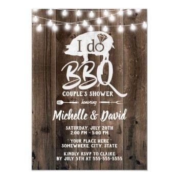 i do bbq couples shower rustic barn wedding invitation