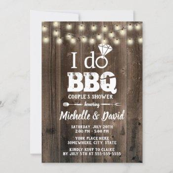 i do bbq couples shower rustic barn wood invitation