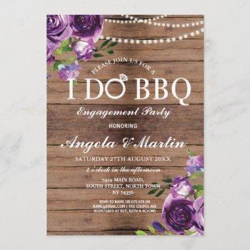 i do bbq engagement couples shower purple floral invitation