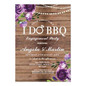 i do bbq engagement couples shower purple floral invitation
