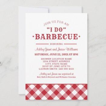 i do bbq red gingham couple's wedding shower invitation