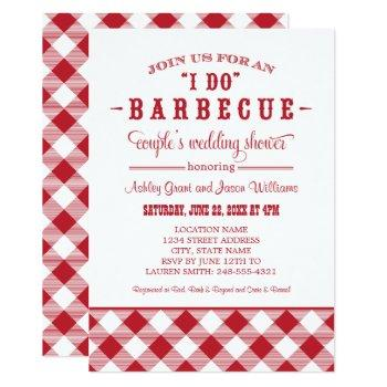 i do bbq red gingham couple's wedding shower invitation